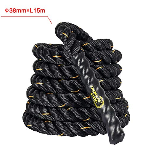 Display4top Cuerda de Batalla Battle Rope - Ancho de 38mm Poly Dacron 9m / 12m / 15m Longitud Ejercicio Cuerdas de Undulación (38mm * 12m)