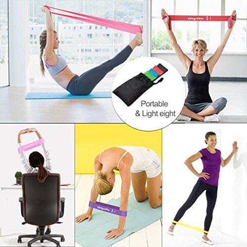 Diyife Bandas Elasticas Fitness, Set de 6 Cintas Elásticas de Resistencia para Yoga, Pilates, Danza, Fuerza, Estiramiento de Terapia y Ejercicio, Bolsa Transporte Incluida