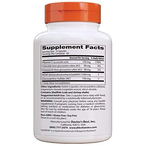 Doctor's Best Fórmula Sinergica De Glucosamina Msm Con Optimsm - 180 Cápsulas 180 Unidades 240 g