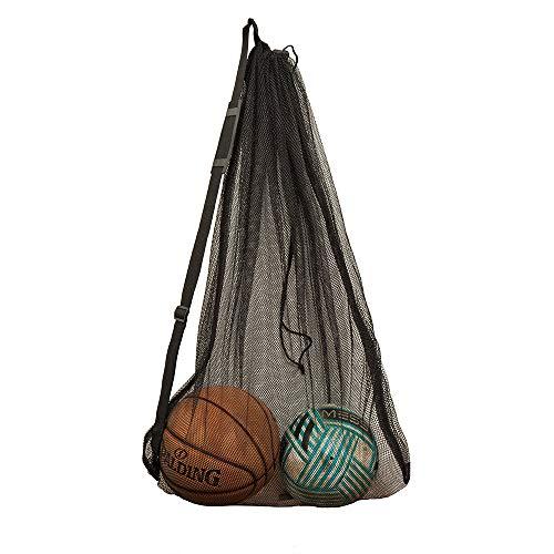 DoGeek Bolsa de Viaje de Malla Impermeable Grande, Bolsa de Deporte de Alta Resistencia, Bolso de Baloncesto, Voleibol, fútbol, Bolsa de Almacenamiento con cordón (Negro)