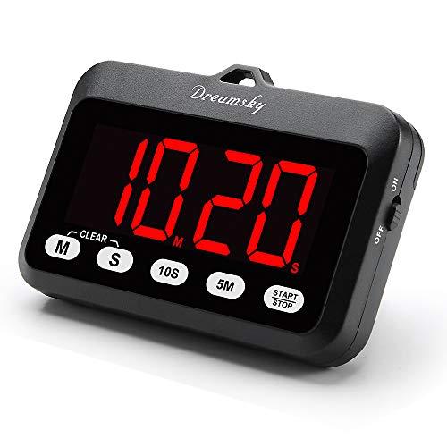 DreamSky Temporizador Digital para Cocina con Alarma Potente, Pantalla Grande con Números Rojos, Cuenta Regresiva y Progresiva, a Pilas, Cocinar, Fácil de Usar