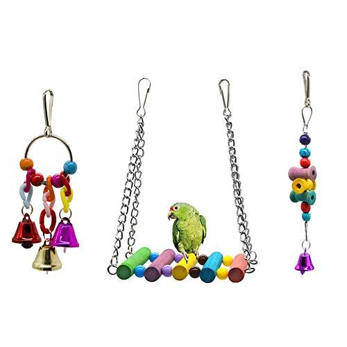 Dsaren Juguetes para Pájaros Colorful Columpio para Loros Accesorios Jaula Pajaros Bite Toy con Campanas para Periquitos, Cockatiels, Africana Greys Loros, Paquete de 3 (Colores aleatorios)
