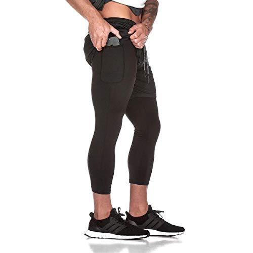Ducomi Pantalones de Fitness para Hombre + Leggings de Compresión Running 2 en 1 - Pantalones Largos y Shorts de Gimnasia - Calzado Deportivo Ligero para Correr, Deporte y Baloncesto (Negro, EU L)