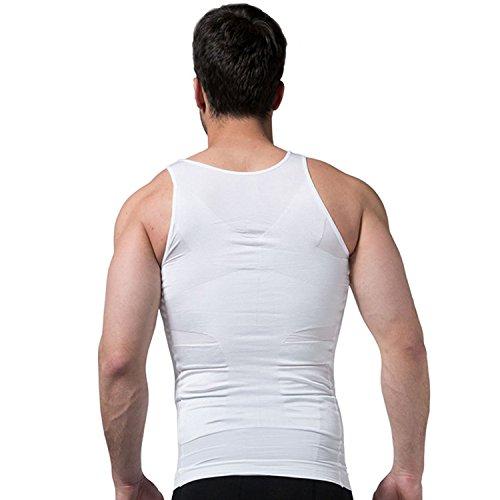 Ducomi Slimshaper - Chaleco para Hombre - Ropa Interior de Efecto Adelgazante Elástico y Formar para el Vientre y la Pérdida de Peso y Grasa - Previene el Dolor de Espalda y Lumbares (Blanco, M)