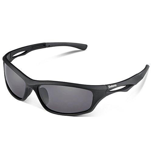 Duduma Gafas de Sol Deportivas Polarizadas Para Hombre Perfectas Para Esquiar Golf Correr Ciclismo TR90 Súper Liviana Para Hombre y Para Mujer (marco mate negro con lente negro)