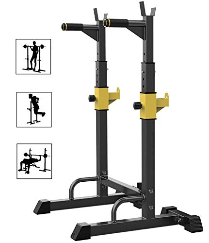 DZKU Regulable Soporte Barra Pesas Rack, MAX 250 Kg Acero, Rack Sentadillas y Dominadas, Olympic Soporte Barra Press Banca, para Gimnasio en Casa