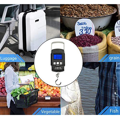 EasyULT Bascula Digital Pesca 50 kg / 110 lbs, Balanza Electronica Portátil De Mano Gancho Pantalla LCD y Cinta Métrica, Función de Tara