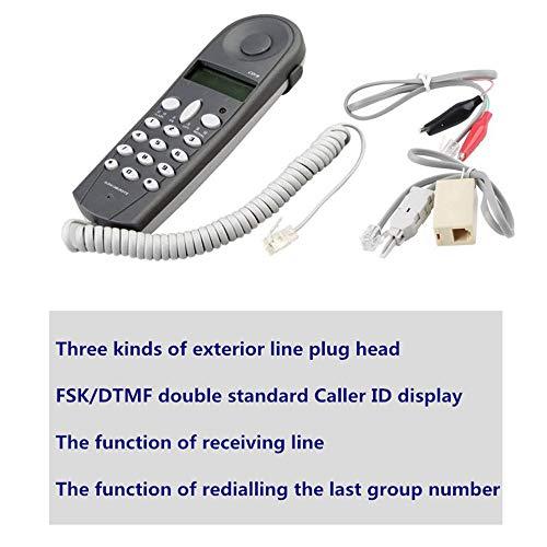 Ecloud Shop® Línea telefónica Teléfono Butt Test Tester Lineman Tool Cable Set (gris)