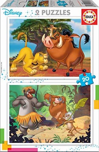 Educa - Disney Animals: El Rey Leon y El Libro de la Selva, 2 Puzzles infantiles de 20 piezas, a partir de 3 años (18103)