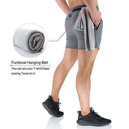 EK - Pantalones cortos de gimnasia para hombre, 5 pulgadas, ligeros, con cremallera, bolsillos, Primavera-Verano, Hombre, color gris, tamaño 38