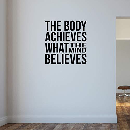 El cuerpo logra lo que la mente CREE... Bodybuilding Levantamiento de pesas para pared temática de motivación de gimnasio y fitness pesa rusa Crossfit Workout boxeo UFC MMA