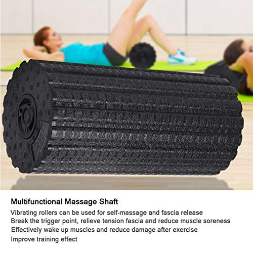 Eléctrico Yoga Rodillo de Espuma para Aptitud Masaje Pérdida de Peso Cuerpo Adelgazamiento/Aliviar Fatiga Muscular/Vibración de 4 Speed /EPP Duradero/Facil de Seco y Limpio (Negro yoga masaje columna)