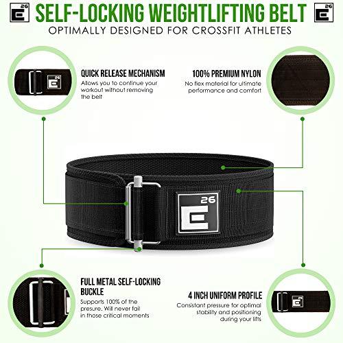 Element 26 Autoblocante Levantamiento de Pesas cinturón | Crossfit, Levantamiento de Pesas, Estiramiento Facial y Atletas olímpicos (Ancho, Negro)