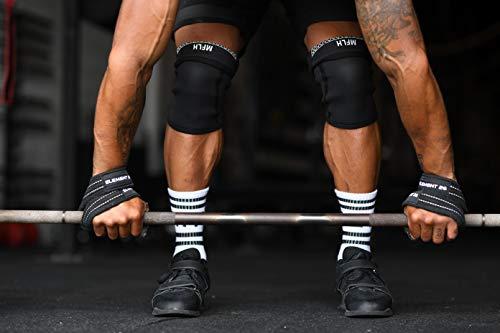 Element 26 - Correas acolchadas para levantamiento de pesas (figura 8, para hombres, mujeres, crossfit, levantamiento de pesas, levantamiento de peso y levantamiento de pesas), Medium, Negro