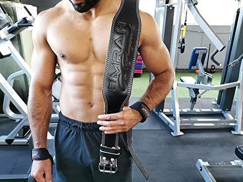 EMRAH Cinturón de Levantamiento de Pesas Pure Genuine Leather para Hombres y Mujeres - Ideal para Levantamiento de Pesas, Peso Muerto, Crossfit - Apoyo para la Espalda (Negro, Medio)