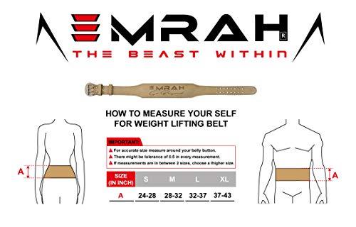 EMRAH Cinturón de Levantamiento de Pesas Pure Genuine Leather para Hombres y Mujeres - Ideal para Levantamiento de Pesas, Peso Muerto, Crossfit - Apoyo para la Espalda (Negro, Grande)