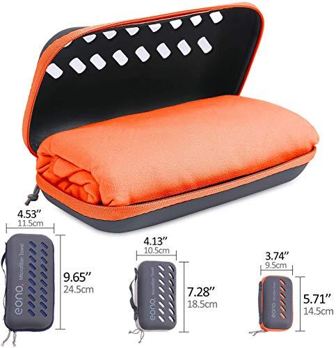 Eono by Amazon - Toalla de Microfibra para Llevar al Gimnasio, a la Playa, de Camping, de Viaje, de Natacion, o de Vacaciones. Secado rápido, Superabsorbente, Ultracompacta, Naranja-100x50cm
