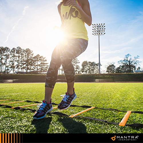 Escalera de Agilidad, Velocidad y Coordinacion 6m - 8 Conos Entrenamiento Deportivos - Deportes Equipo Entrenamiento Funcional para Fitness, Fútbol, Hockey, Baloncesto, HIIT y CrossFit - Guia y Bolsa