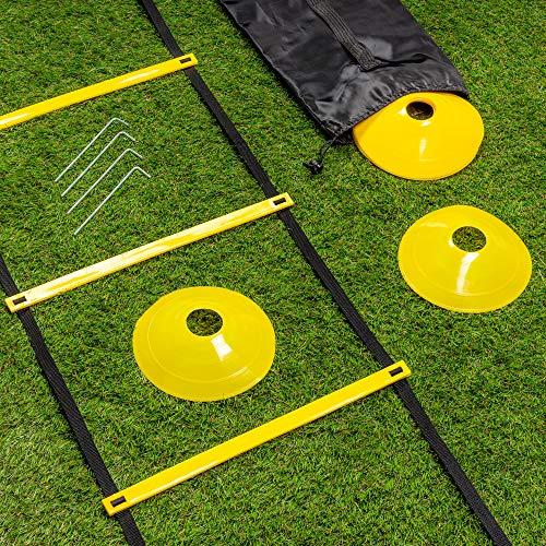 Escalera de Velocidad Coordinación Agilidad 6M| 12 Peldaños 10 Conos & 4 Clavijas| Alta Calidad y Duradero - Fútbol Deportes Entrenamiento Fitness para Niños Adultos| con Bolsa Transporte.