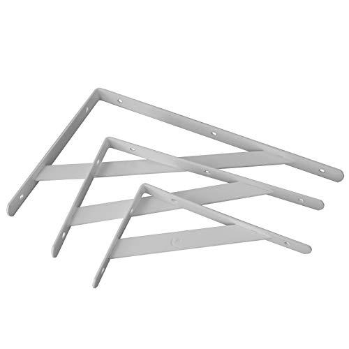 Escuadras en ángulo recto para estantes muy resistentes para montar en la pared, blanco