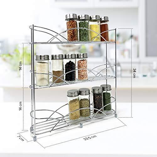 Estante Especiero plata de Pie Libre Encimera Multiuso para Especias/Hierbas con 14 frascos de vidrio para especias, 21 etiquetas de tiza y 1 marcador: ideal para almacenar especias y hierbas
