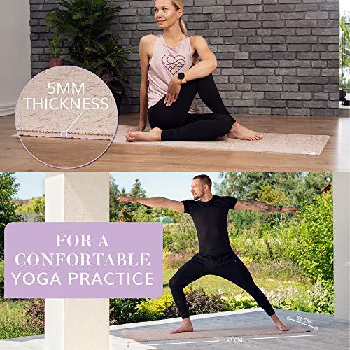 Esterilla Yoga Antideslizante - Colchoneta Gimnasia Gruesa y Plegable con Correa Yoga Mat para Deporte en Casa, Fitness, Gimnasia y Pilates - Alfombra de Goma y Mat de Yute Ecológico
