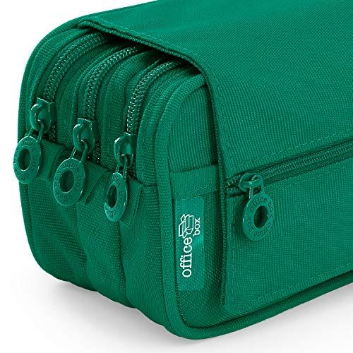 Estuche Portatodo Triple de Amplios Apartados Interiores con Tres Cremalleras para Material Escolar o Neceser. Verde