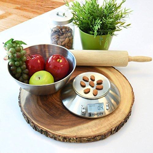 Etekcity Báscula Digital para Cocina con Bol Removible, 5 kg / 11 lbs, Balanza de Cocina de Acero Inoxidable, Temporizador y Sensor de Temperatura, Pantalla LCD, EK4150