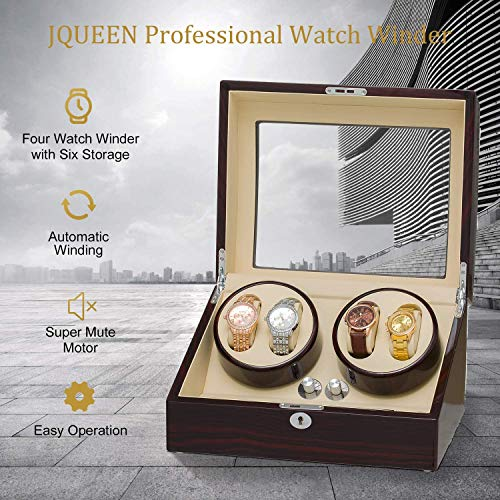 Expositor Jqueen para dar cuerda a relojes automáticos con capacidad para 4 relojes,0600089968798