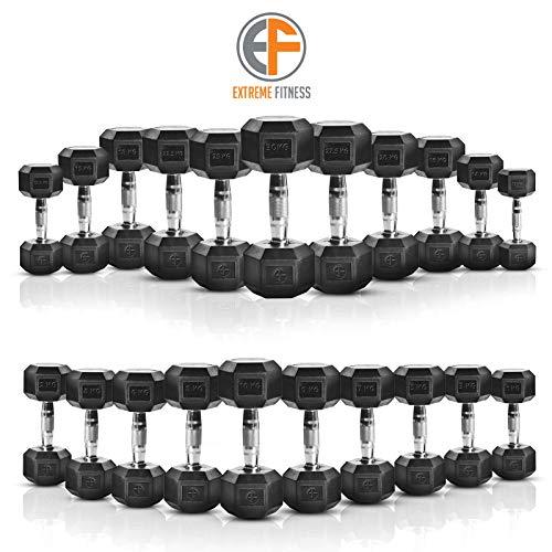 Extreme Fitness® Mancuernas hexagonales recubiertas de goma, 1 kg - 50 kg, tamaño 2 x 22.5KG