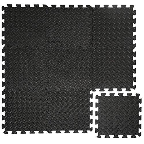 EYEPOWER Suelo de Gimnasio de Goma EVA 10mm de Grosor Esterilla Puzle 9 Piezas Cada una 30x30cm para Deporte Fitness Ejercicio 0,81qm Extensible Negro