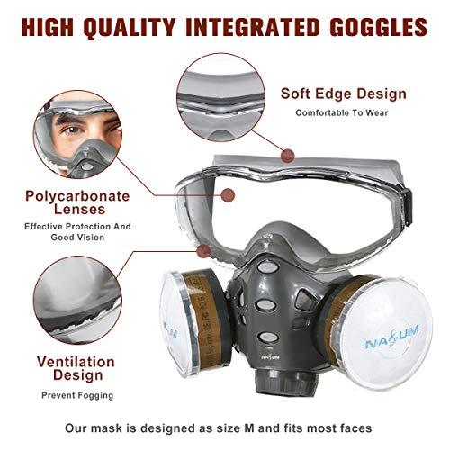 Facial Cubierta NASUM, Facial Cubierta Protectora, con Gafas Fijas / 2x Cubierta de Plástico / 2x Filtro de Algodón, Facial Cubierta de Polvo Reutilizable / Partículas / Vapor / Gas para Pulverización