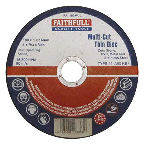 Faithfull FAI10010MUL - Disco abrasivo (tamaño: 100x1x16mm, pack de 10)