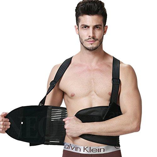 Faja para la espalda con tirantes, apoyo lumbar, cinturón de culturismo/halterofilia - Marca Neotech Care (Talla XL)