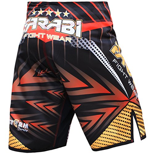 Farabi Sports MMA Shorts Compitiion Training Cage Fight Kick Boxing Muay Thai Pant, Size Guideline in Pictures Area (Medium)