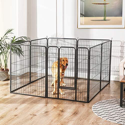 FEANDREA Jaula Valla para Perros, Corral Plegable para Cachorros, Conejos y Otras Mascotas Gris 77 x 80 cm PPK88G