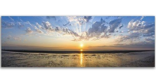 Feeby. Cuadro en Lienzo, Imagen impresión, Pintura decoración, Canvas de una Pieza, 150x50 cm, Puesta del Sol, Naturaleza, Azul
