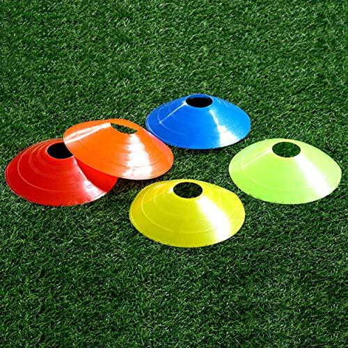 FEMOR 50PCS Conos de Entrenamiento de Fútbol Plástico para Deporte de Soccer Ball (Naranja Amarillo Rojo Azul Verde)
