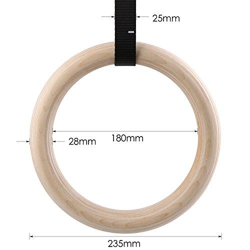 Femor - FS016- Anillos de gimnasia - Para gimnasio, Crossfit, entrenamiento - Madera de abedul - Profesionales - Correas ajustables con hebilla, 28mm, 28 mm