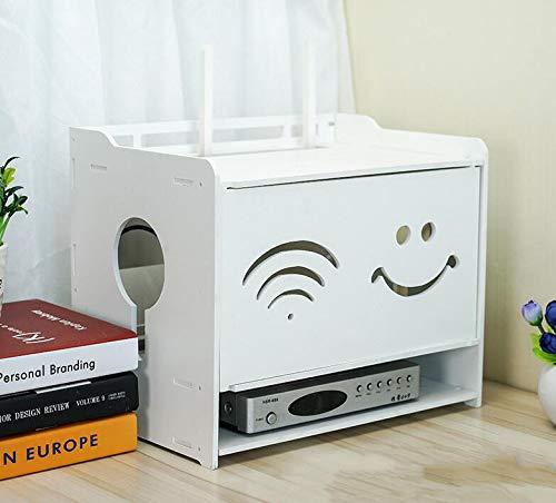 FEN HOME Estante Flotante Set-Top Box Estante de Escritorio Sala de Estar TV Pared inalámbrico WiFi enrutador Caja de Almacenamiento (Color : Blanco, Tamaño : Large)