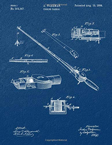 Fishing Rod Notebook: Fishing Rod Components & Construction Blueprint Journal Diary, 120 Dot Grid Pages, 8.5x11 Inches, Blue Sandstone Cover
