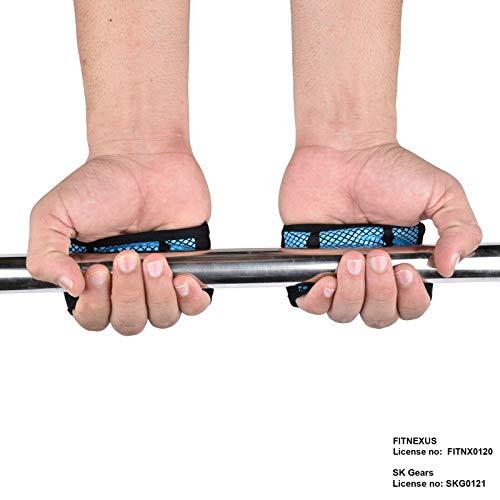 FITAXIS Calleras para Crossfit, Freeletics, Calisthenics y Gimnasia - Protección para Tus Manos - Guantes Gimnasio   Hombres Y Mujeres (Black/Blue, M)