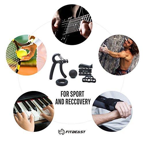 FitBeast Kit de Entrenamiento para Ejercitar el Agarre – Paquete de 5 Piezas, Pinzas para Manos Ajustables, Ejercicio para Dedos, para Estirar los Dedos, Anillo para Entrenar y Pelota Anti Estrés