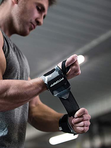 Fitgriff® Muñequeras Gym, Crossfit, Deportivas, Musculación, Gimnasio, Calistenia, Wrist Wraps - Mujeres y Hombres - Camo Grey