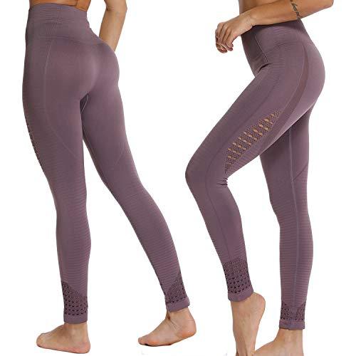 FITTOO Leggings Sin Costuras Corte de Malla Mujer Pantalon Deportivo Alta Cintura Yoga Elásticos Fitness Seamless #1 Morado Medium