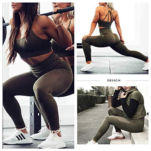 FITTOO Leggings Sin Costuras Corte de Malla Mujer Pantalon Deportivo Alta Cintura Yoga Elásticos Fitness Seamless #1 Verde Medium
