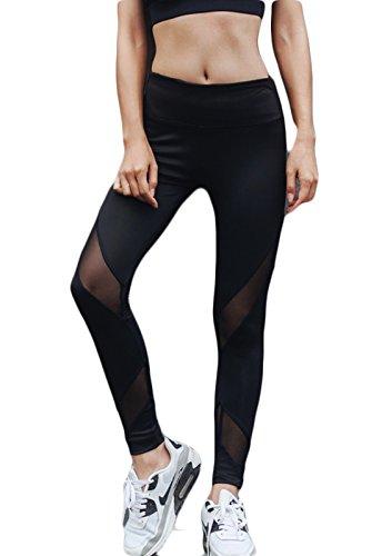 FITTOO Mallas Leggings Mujer Yoga de Alta Cintura Elásticos y Transpirables para Yoga Running Fitness36k #6 Negro Small