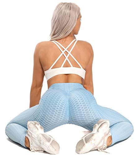 FITTOO Mallas Pantalones Deportivos Leggings Mujer Yoga Alta Cintura Gran Elásticos Fitness  Azul CieloM