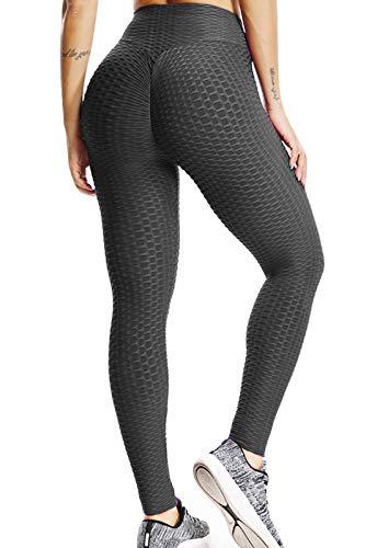 FITTOO Mallas Pantalones Deportivos Leggings Mujer Yoga Alta Cintura Gran Elásticos FitnessNegroS