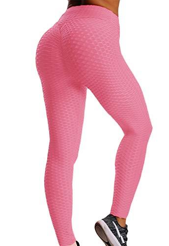 FITTOO Mallas Pantalones Deportivos Leggings Mujer Yoga Alta Cintura Gran Elásticos Fitness RosaM